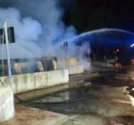 Incendio alla piattaforma ecologica